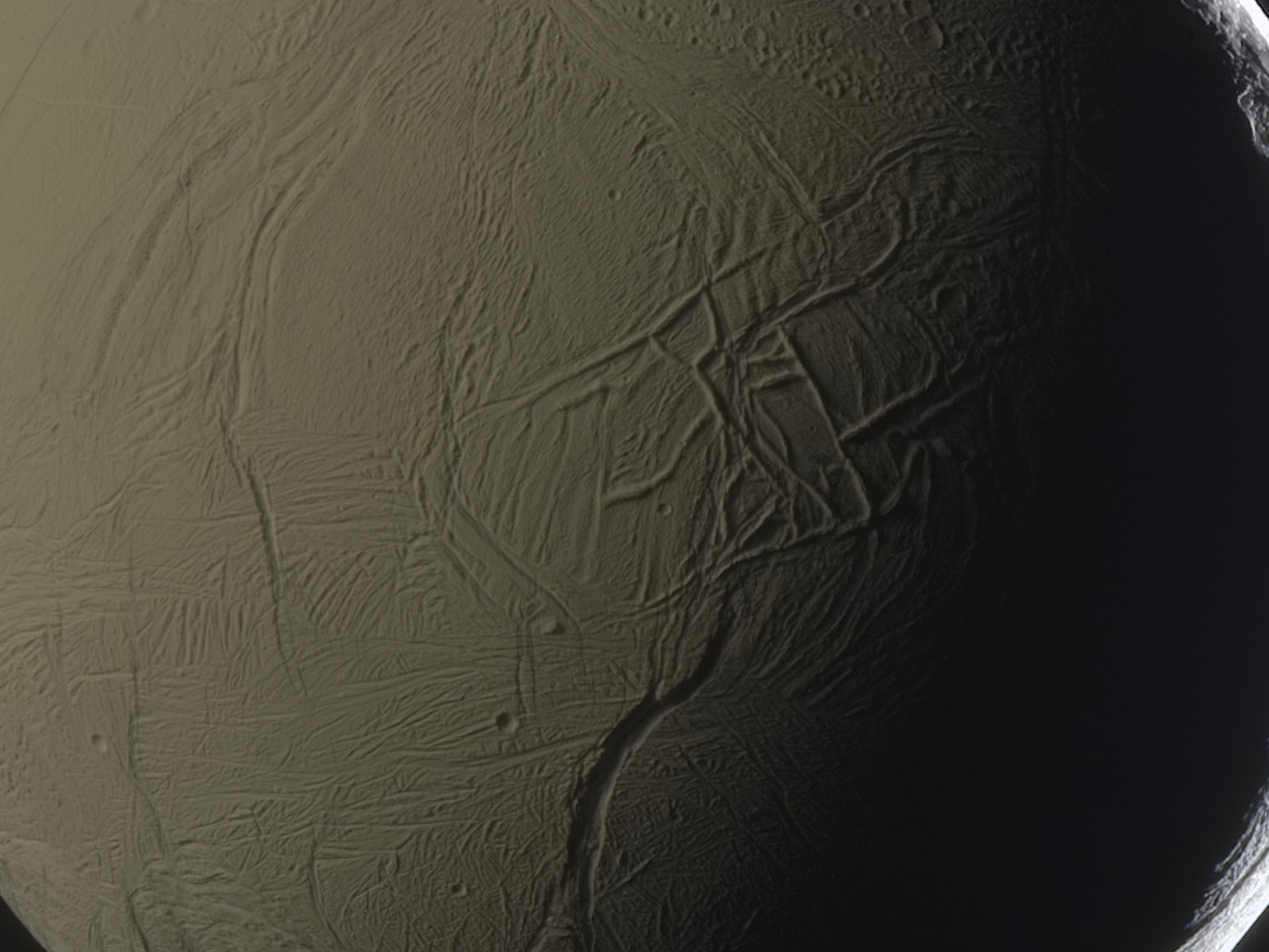Enceladus up close Cassini spacecraft space wallpaper