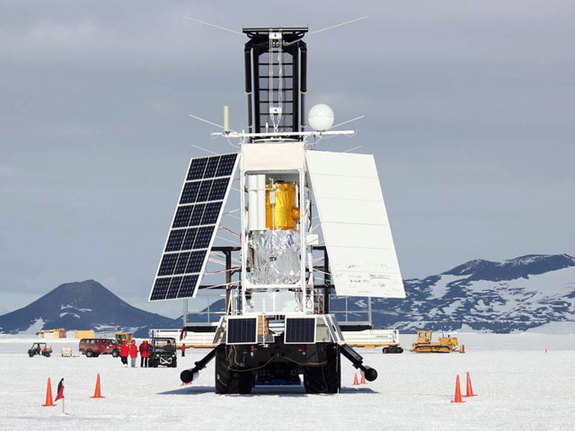 The Stratospheric Terahertz Observatory (STO) is prepared for launch from the Long Duration Balloon facility on Antarctica's McMurdo Ice Shelf in January 2012. The BRRISON project is leveraging existing STO hardware, particularly re-use of the STO telescope.