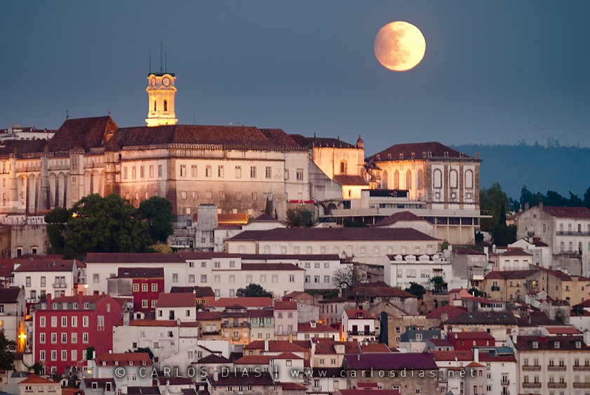 Moonrise During Partial Lunar Eclipse Over Portugal