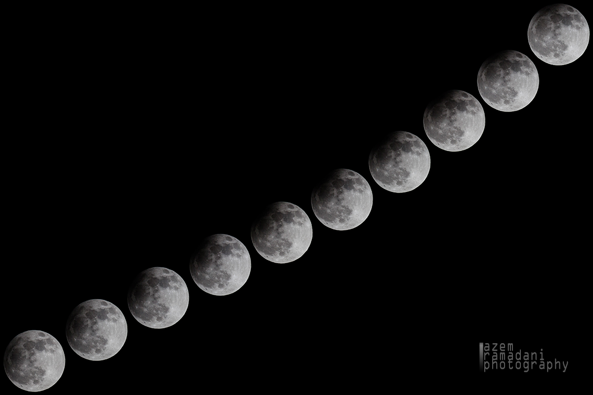 Lunar Eclipse Sequence Over Republic of Kosovo