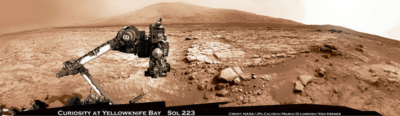 This panorama showing Curiosity at the John Klein drill site is composed of more than 20 images the rover took with its navigation cameras on March 23, 2013.