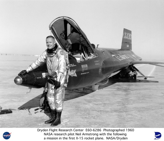 Dryden pilot Neil Armstrong is seen here next to the X-15 ship #1 (56-6670) after a research flight.