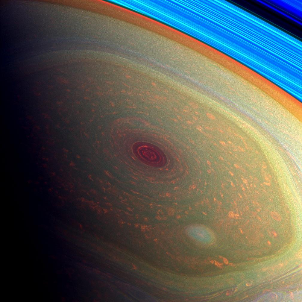 Saturn's North Pole in Psychedelic Color
