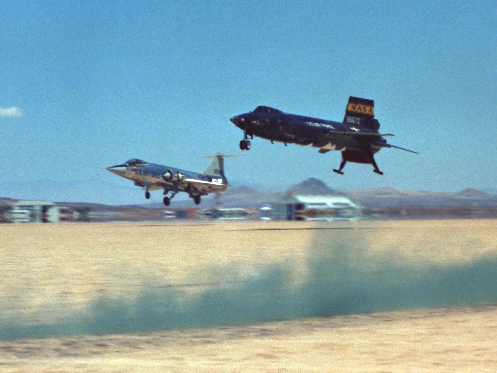 X-15 Nears Touchdown with Starfighter