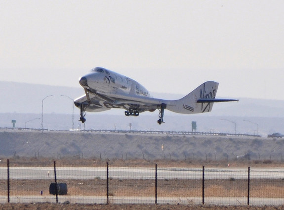 Virgin Galactic's SpaceShipTwo lands in the Mojave Desert, CA, after its historic first supersonic test flight on April 29, 2013.