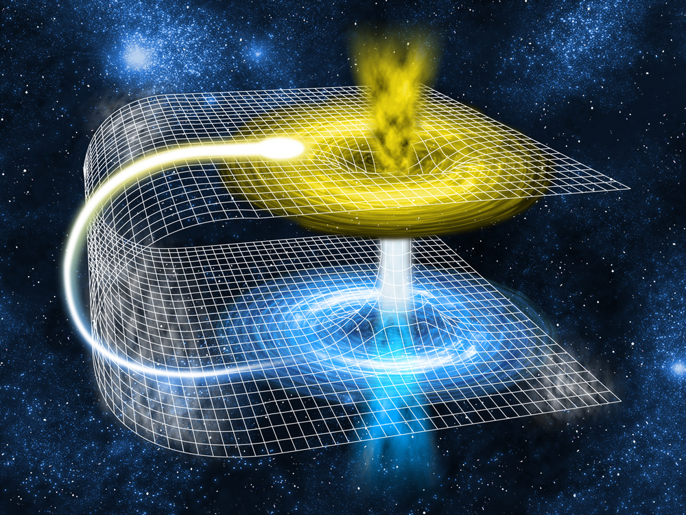 A model of 'folded' space-time illustrates how a wormhole bridge might form with at least two mouths that are connected to a single throat or tube. - See more at: http://www.space.com/20881-wormholes.html#sthash.qZrcXAfi.dpuf