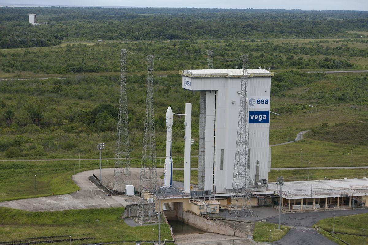 Fully Assembled Vega VV02 Rocket on Pad