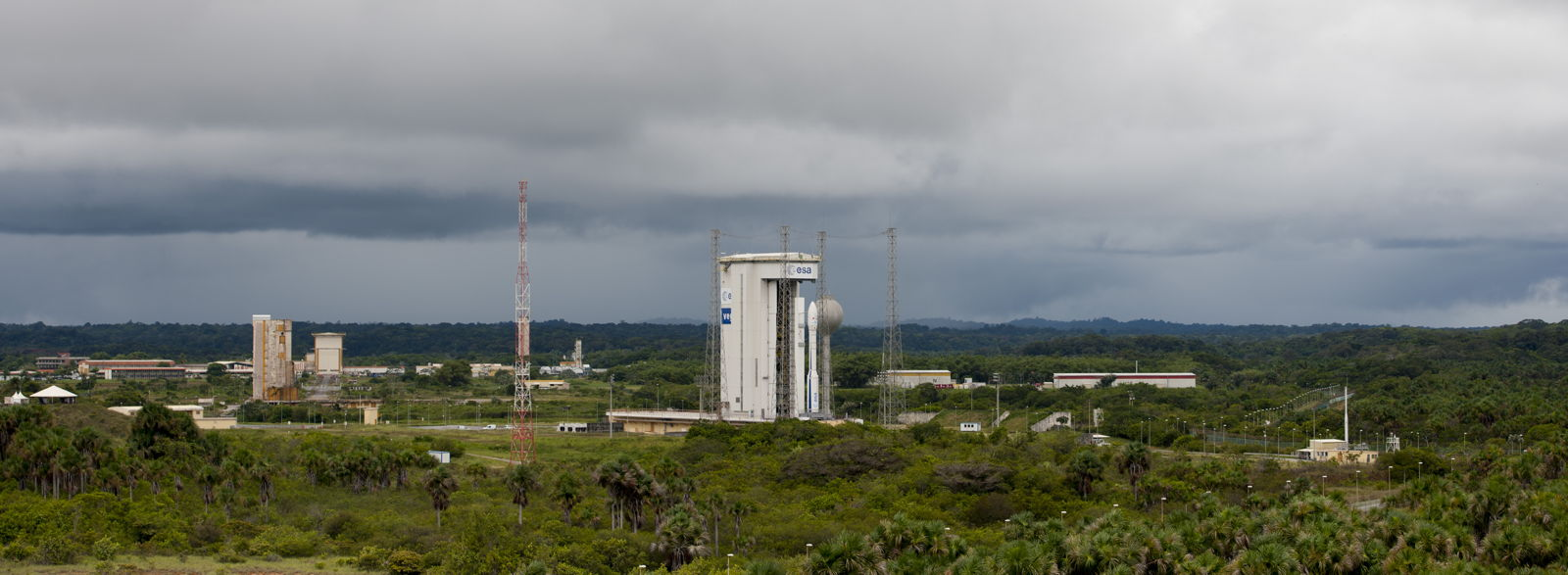 Fully Assembled Vega VV02 Rocket on Pad Panoramic View