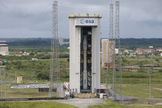 The European Space Agency's Vega VV02 rocket stands fully assembled on its launch pad, April 22, 2013. Vega VV02 is scheduled for liftoff from Europe's Spaceport in Kourou, French Guiana, on May 4, 2013, carrying two satellites.