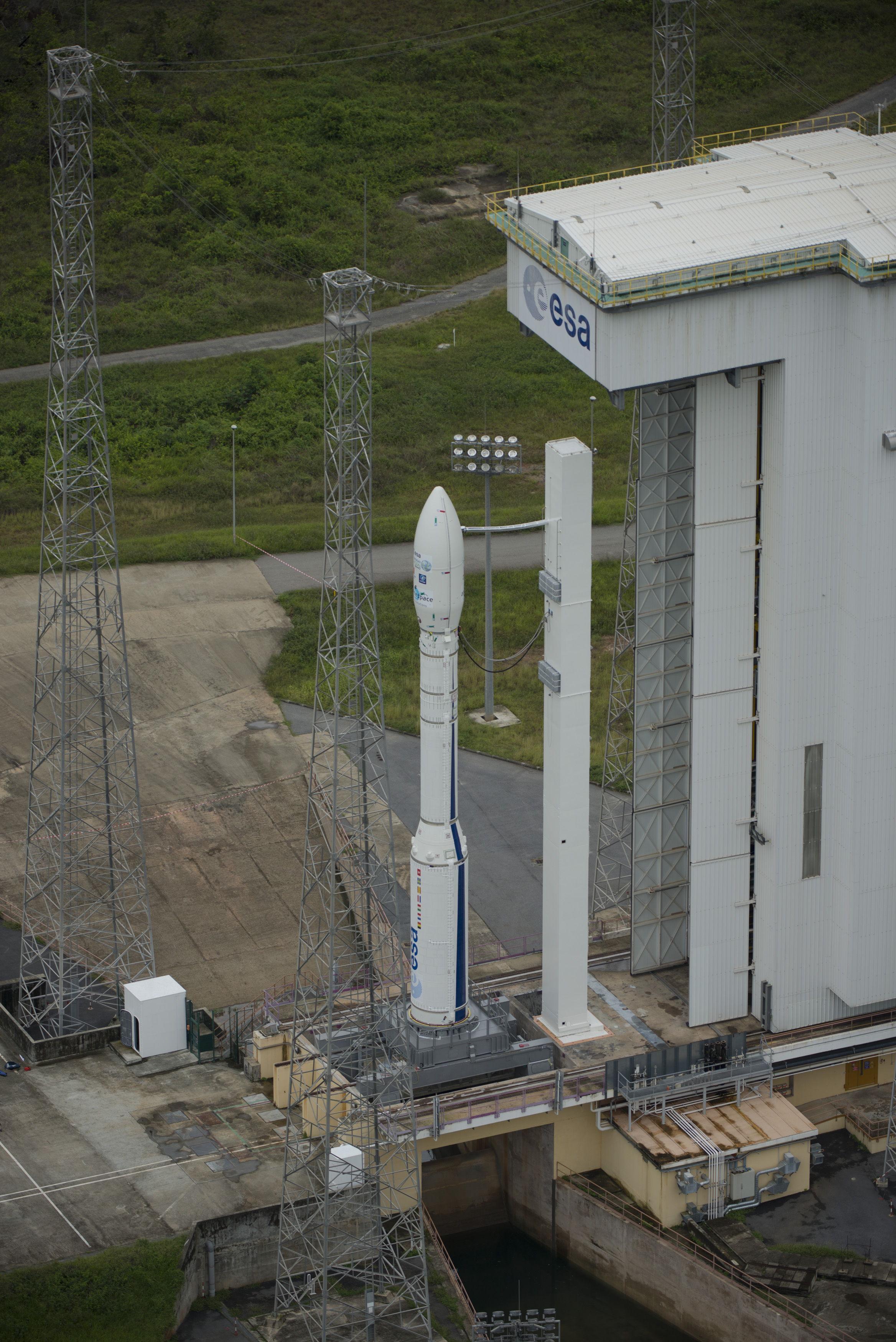 Fully Assembled Vega VV02 Rocket on Pad High Angle