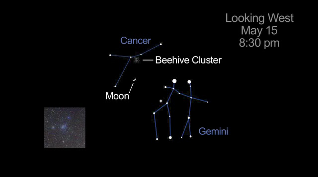 Cancer and Gemini in Relation to Moon and Beehive Cluster on May 15, 2013.