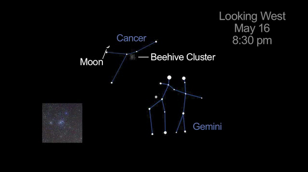 Cancer and Gemini in relation to Moon and Beehive Cluster on May 16