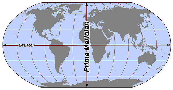 The world's hemispheres are divided at the prime meridian.