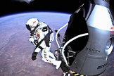 Austrian daredevil Felix Baumgartner jumps out of the Red Bull Stratos capsule 24 miles over New Mexico on Oct. 14, 2012.