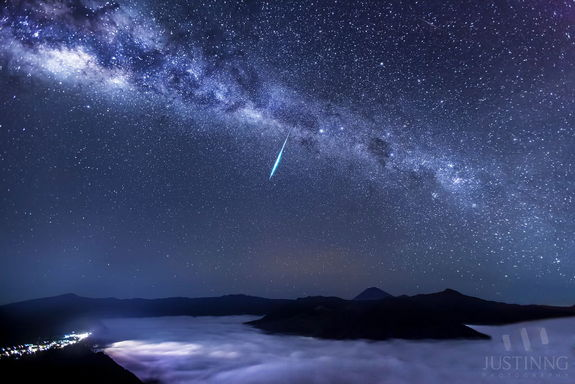 Astrophotographer Justin Ng of Singapore sent in a photo of an Eta Aquarid meteor taken at Mount Bromo, East Java, Indonesia, May 5, 2013.