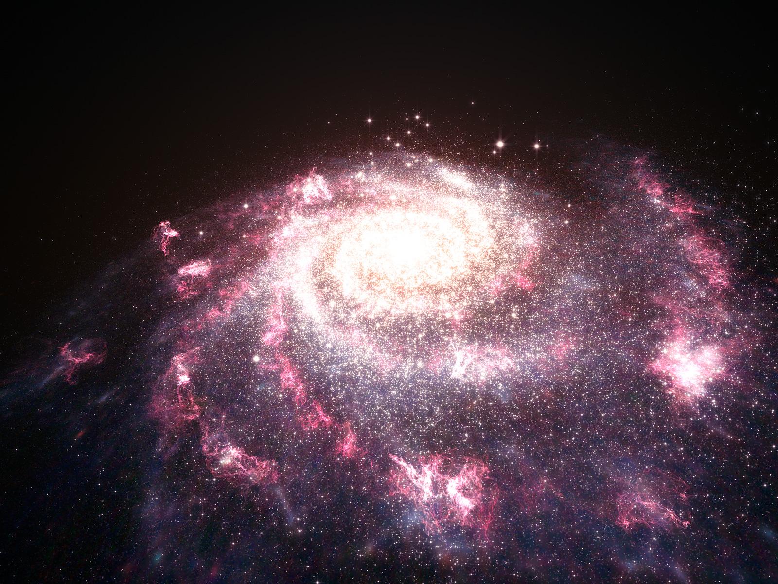 Galaxy Undergoing a Starburst Artist's Impression space wallpaper