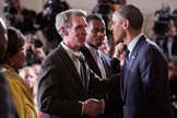 Planetary Society CEO Bill Nye speaking with President Barack Obama at the 2013 White House Science Fair in April 2013.