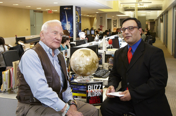 "Famed Apollo 11 moonwalker Buzz Aldrin talks about his new book, ""Mission to Mars: My Vision for Space Exploration,"" with SPACE.com managing editor Tariq Malik on May 6, 2013."