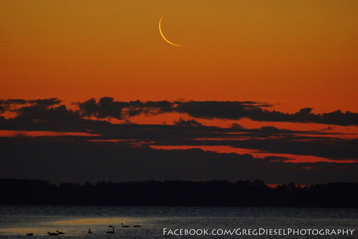 Thin Crescent Moon Over North Carolina