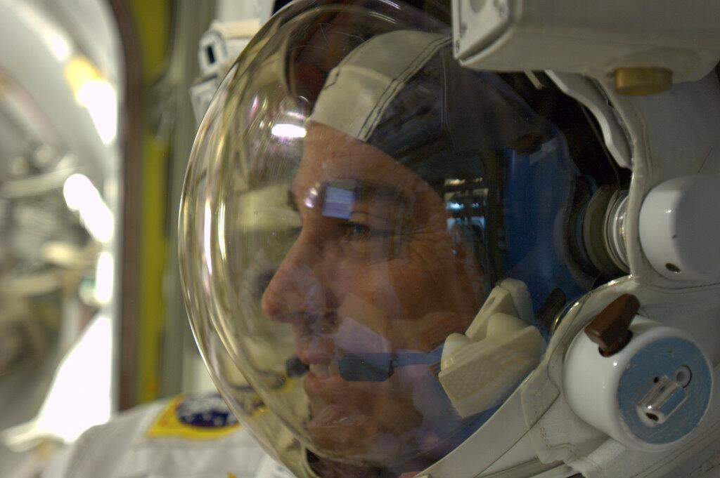 Chris Cassidy Dressed for Spacewalk