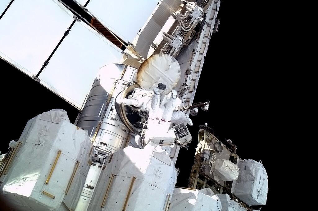Spacewalkers Climb Out of the Airlock