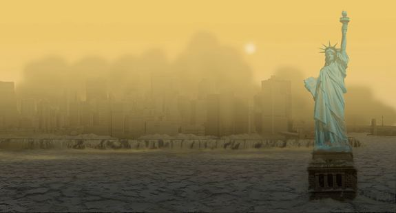 Venus' thick atmosphere is dominated by CO2 with clouds of sulfuric acid, creating a yellowish envelope of hot, sulfurous air that would obscure New York's skyline, as well as the sun.