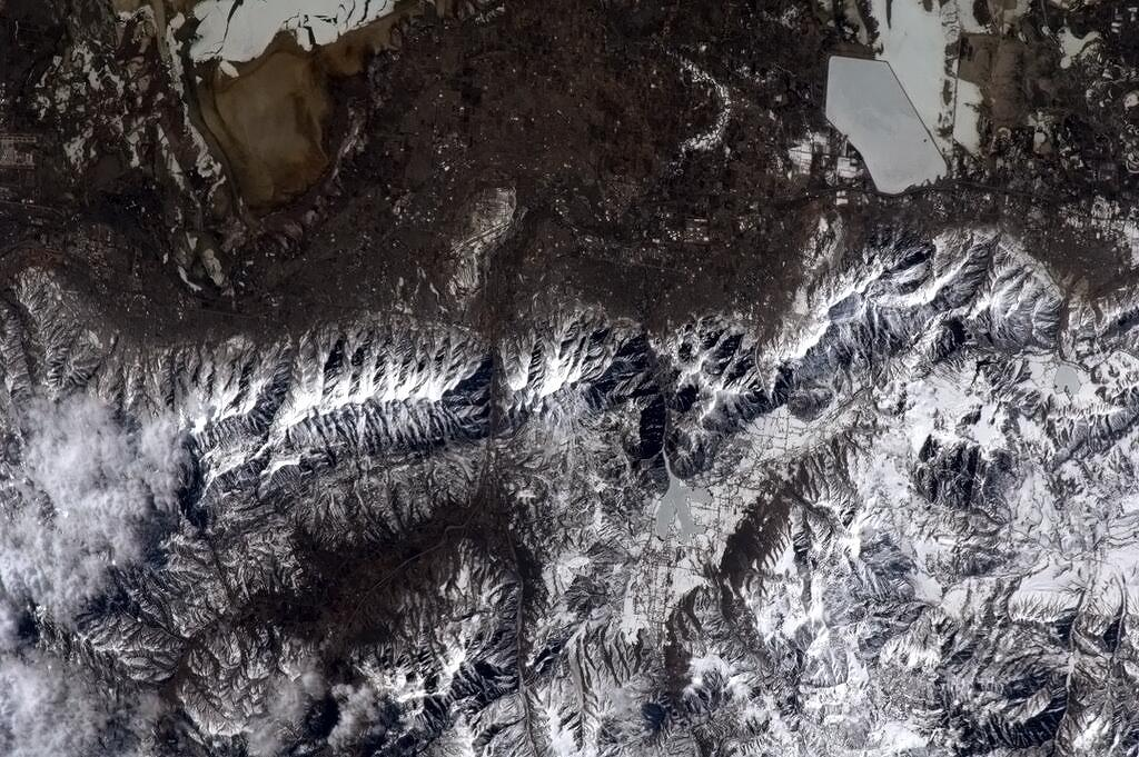 White Mountains of Utah from Space