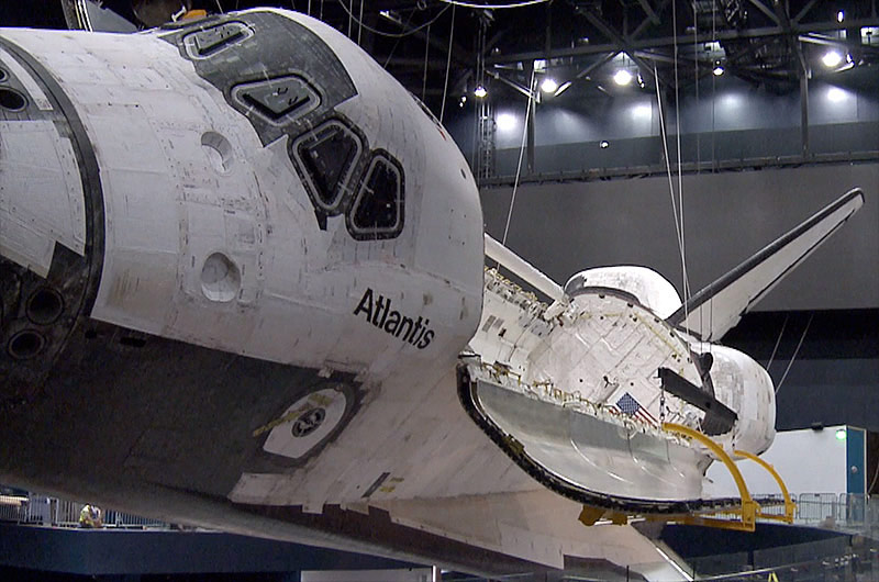 Space Shuttle Atlantis' Payload Bay Opened for Museum Display