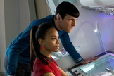 "A still publicity image of star-crossed lovers Spock and Uhura from the film ""Star Trek: Into Darkness."""
