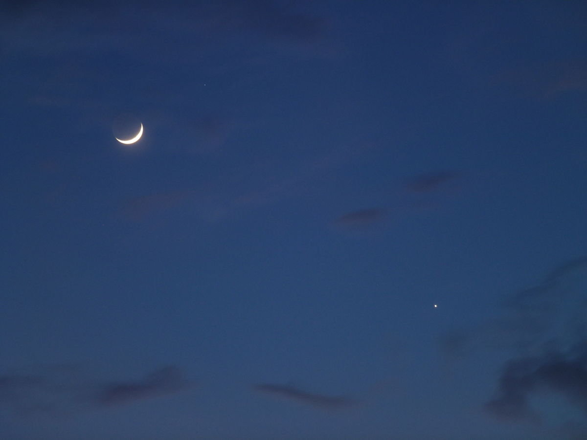 Mother's Day View of Crescent Moon and Jupiter