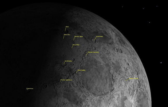 The northern half of the moon exhibits many mountain ranges and a few isolated peaks