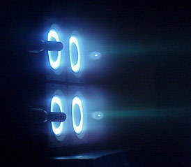 Cluster of four Busek Hall effect thrusters