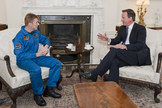 British astronaut Tim Peake meets Prime Minister David Cameron. Peake will be the first British crewmember of the International Space Station for the UK Space Agency and European Space Agency in 2015