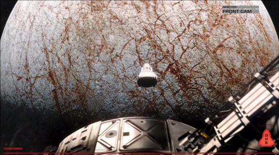 A spaceship floats in space in this still from the 2013 science fiction film 'Europa Report.'
