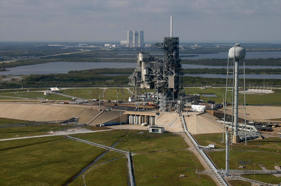 Aerial view of Launch Pad 39A at NASA's Kennedy Space Center in Florida.