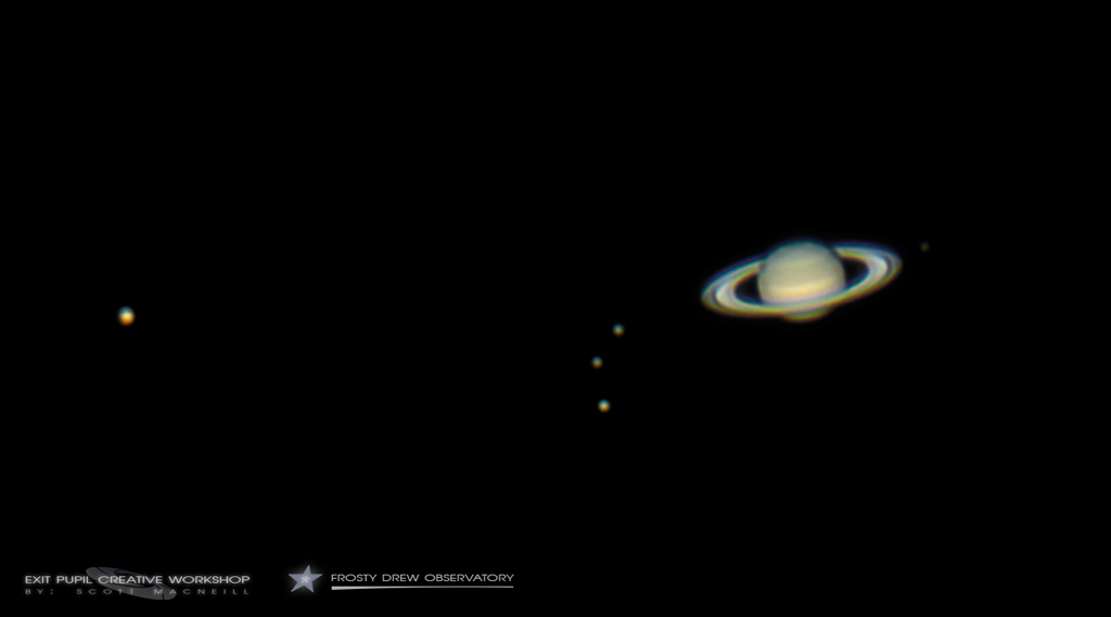 Saturn and Moons skywatching image Scott MacNeill