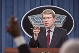 David F. Helvey, deputy assistant secretary of defense for East Asia, briefs reporters about the military and security developments involving China during a news conference held at the Pentagon on May 6.