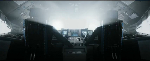 """In the science fiction film """"Oblivion,"""" a spaceship cockpit looks remarkably similar to the flight deck of NASA's space shuttles. This still is taken from the 2013 film's trailer."""