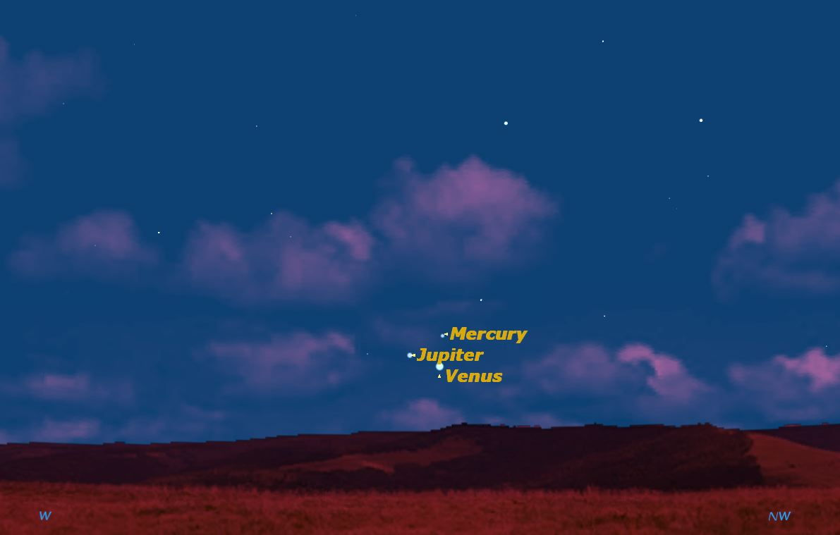 See Jupiter, Venus and Mercury Dance in Sunset Sky