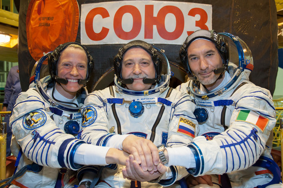 NASA's Karen Nyberg, the European Space Agency's Luca Parmitano and Russian cosmonaut Fyodor Yurchikhin are scheduled to launch to the International Space Station on May 28, 2013. Image released May 17, 2013.
