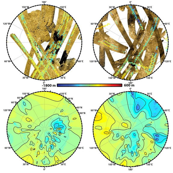 "These polar maps show the first global, topographic mapping of Saturn's moon Titan, using data from NASA's Cassini mission. To create these maps, scientists used a mathematical process called splining, which uses smooth curved surfaces to ""join"" the areas between grids of existing topography profiles obtained by Cassini's radar instrument."