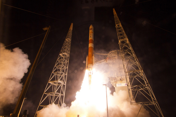 A United Launch Alliance Delta 4 rocket carrying the fifth Wideband Global SATCOM (WGS-5) satellite lifts off from Space Launch Complex-37 at Cape Canaveral Air Force Station in Florida on May 24, 2013. Wideband Global SATCOM provides anytime, anywhere communication for the warfighter through broadcast, multicast, and point to point connections.