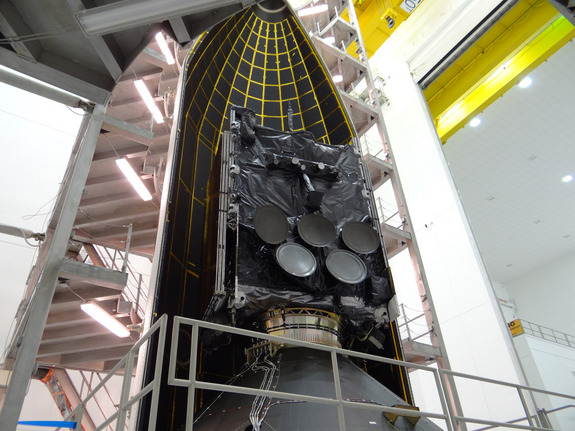 The Air Force's fifth Wideband Global SATCOM (WGS-5) satellite is encapsulated inside a United Launch Alliance Delta 4 5-meter diameter payload fairing for a May 2013 launch from Cape Canaveral Air Force Base, Florida.