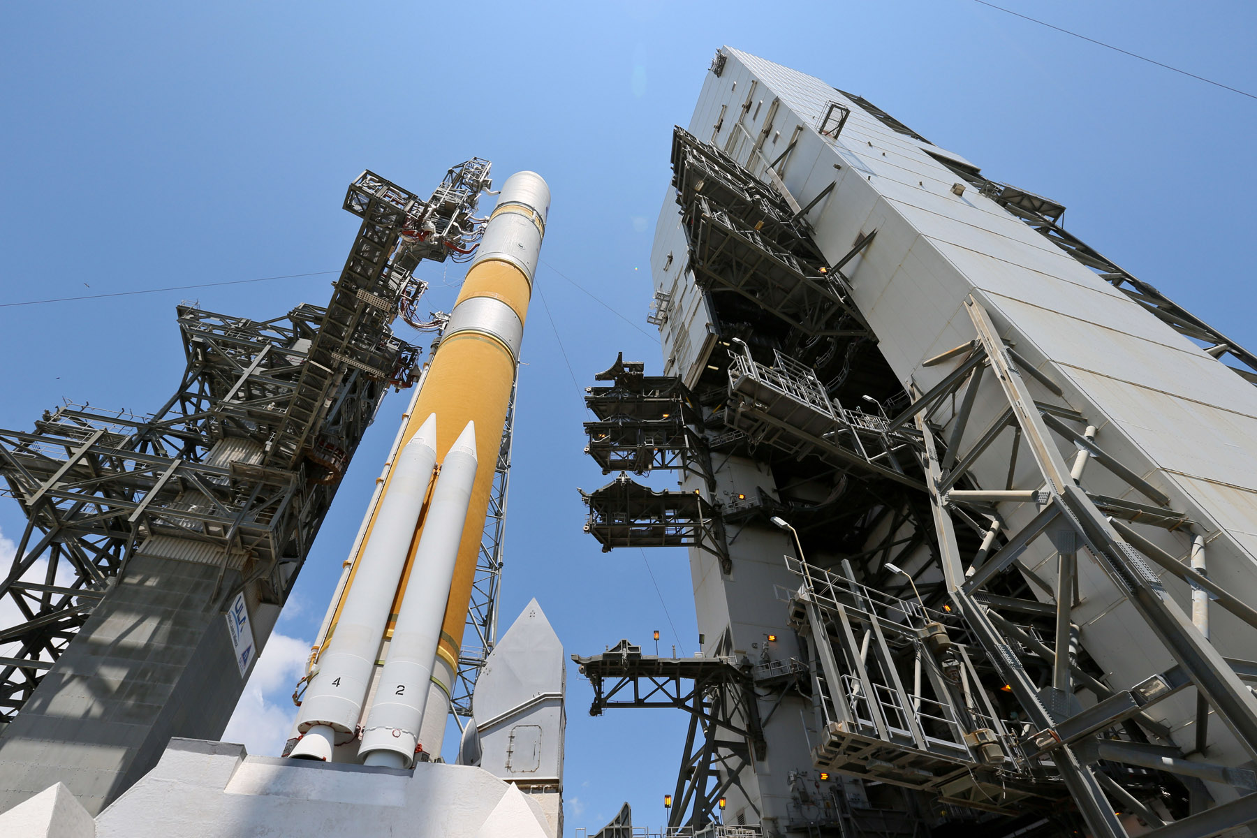 Looking Up: Delta 4 Rocket with WGS-5 Satellite