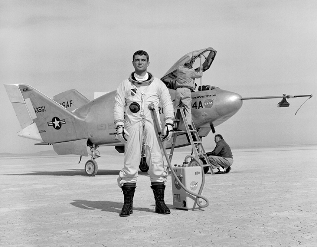 Space History Photo: Pilot Major Cecil Powell and the X-24A on Lakebed