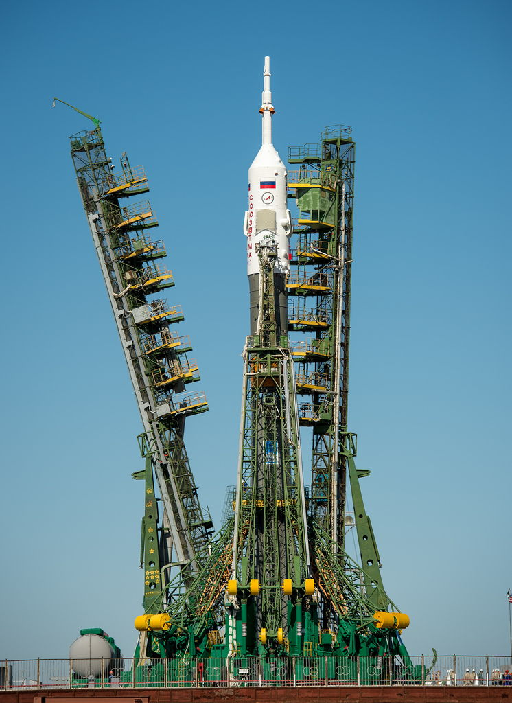 Service Arms Raised Around Expedition 36 Soyuz Rocket