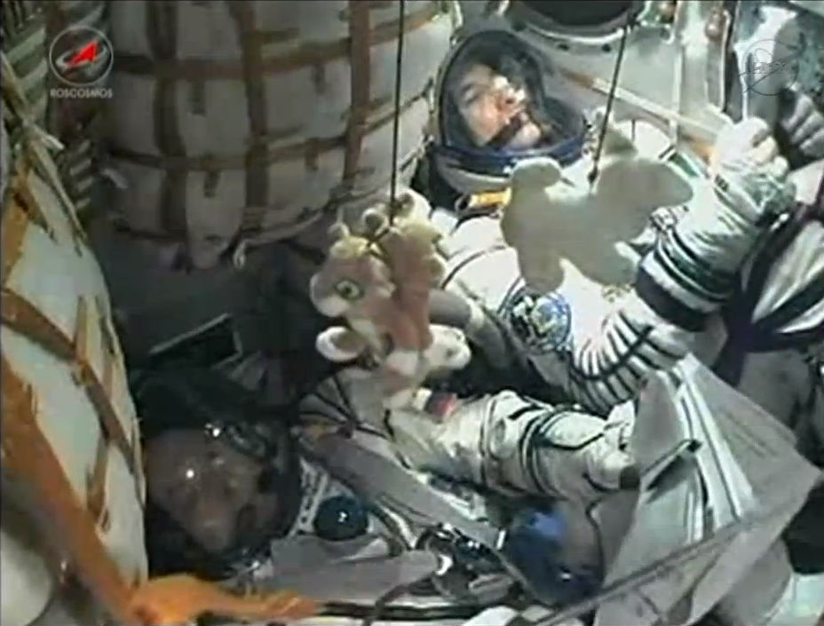 Two Expedition 36 Crew Members in Soyuz Capsule