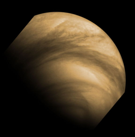 This false-color image of cloud features seen on Venus by the Venus Monitoring Camera (VMC) on the European Space Agency's Venus Express. The image was captured from a distance of 30,000 km on December 8, 2011.