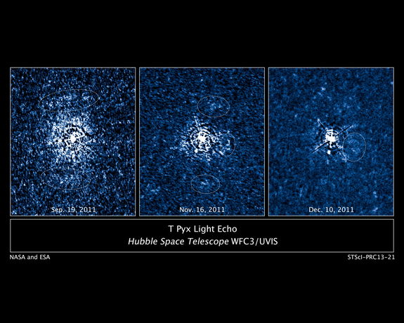 These three images taken by NASA's Hubble Space Telescope reveal a disk of previously ejected material around an erupting star being illuminated by a torrent of light unleashed during a stellar outburst. Image released June 4, 2013.