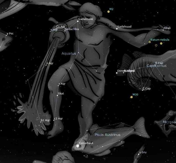 Aquarius the Water Bearer is a large but faint constellation in the Southern sky.